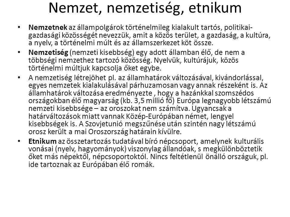 Nemzet, nemzetiség, etnikum