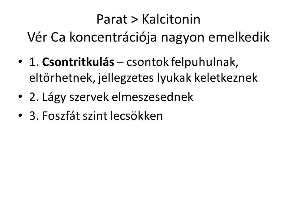 Parat ˃ Kalcitonin Vér Ca koncentrációja nagyon emelkedik
