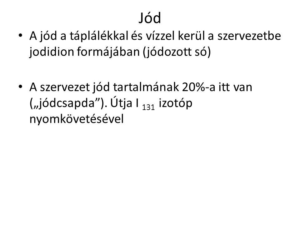 Jód A jód a táplálékkal és vízzel kerül a szervezetbe jodidion formájában (jódozott só)