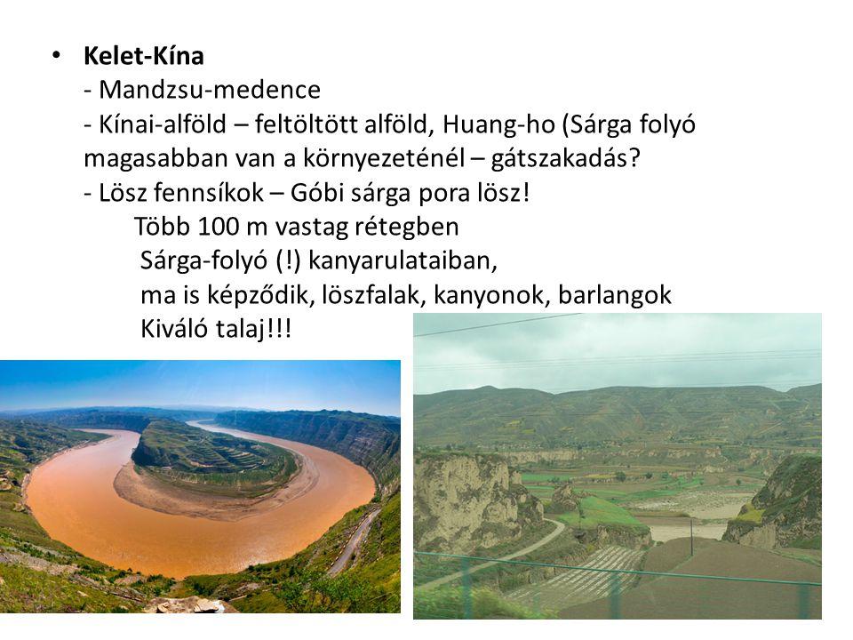 Kelet-Kína - Mandzsu-medence - Kínai-alföld – feltöltött alföld, Huang-ho (Sárga folyó magasabban van a környezeténél – gátszakadás.