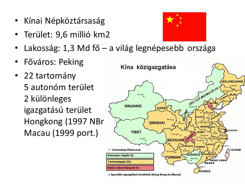 Kínai Népköztársaság Terület: 9,6 millió km2. Lakosság: 1,3 Md fő – a világ legnépesebb országa. Főváros: Peking.