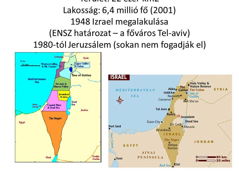 Terület: 22 ezer km2 Lakosság: 6,4 millió fő (2001) 1948 Izrael megalakulása (ENSZ határozat – a főváros Tel-aviv) 1980-tól Jeruzsálem (sokan nem fogadják el)