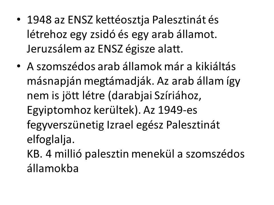 1948 az ENSZ kettéosztja Palesztinát és létrehoz egy zsidó és egy arab államot. Jeruzsálem az ENSZ égisze alatt.