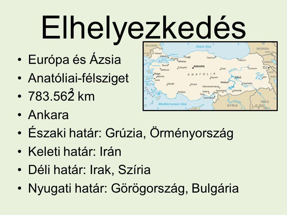 Elhelyezkedés Európa és Ázsia Anatóliai-félsziget 783.562 km Ankara