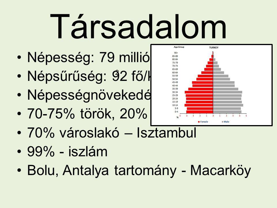 Társadalom Népesség: 79 millió fő Népsűrűség: 92 fő/km