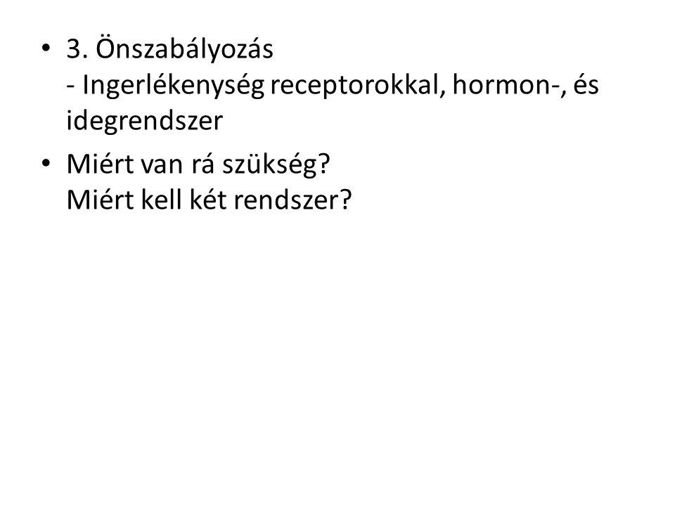 3. Önszabályozás - Ingerlékenység receptorokkal, hormon-, és idegrendszer