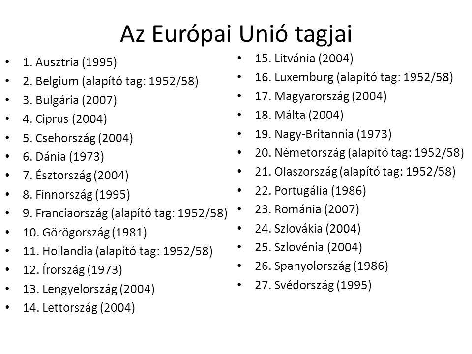 Az Európai Unió tagjai 15. Litvánia (2004) 1. Ausztria (1995)