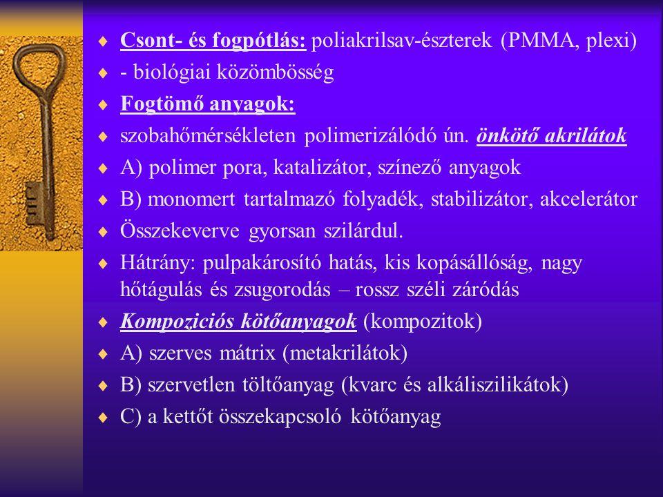 Csont- és fogpótlás: poliakrilsav-észterek (PMMA, plexi)