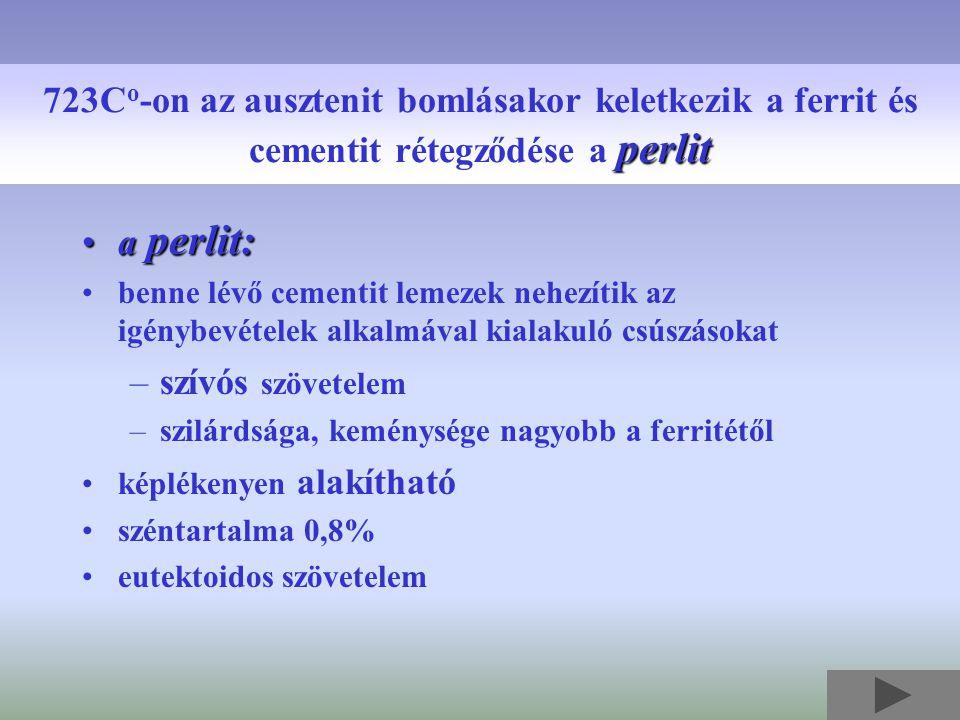 723Co-on az ausztenit bomlásakor keletkezik a ferrit és cementit rétegződése a perlit