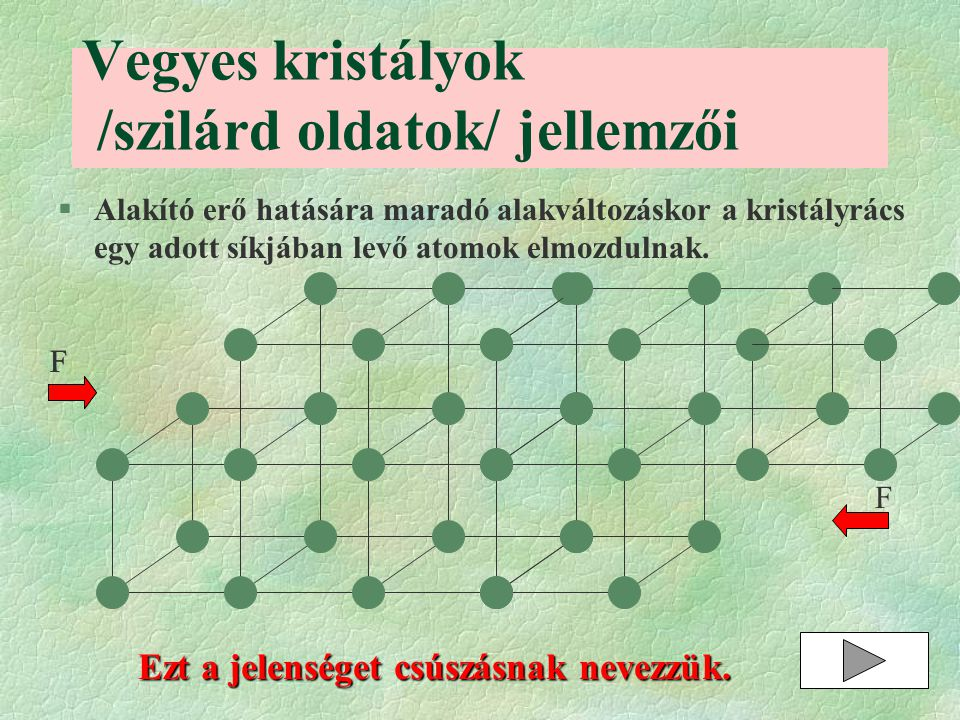 Vegyes kristályok /szilárd oldatok/ jellemzői