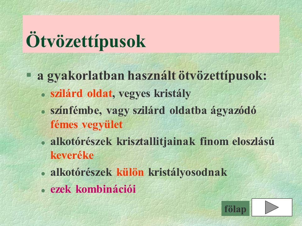Ötvözettípusok a gyakorlatban használt ötvözettípusok: