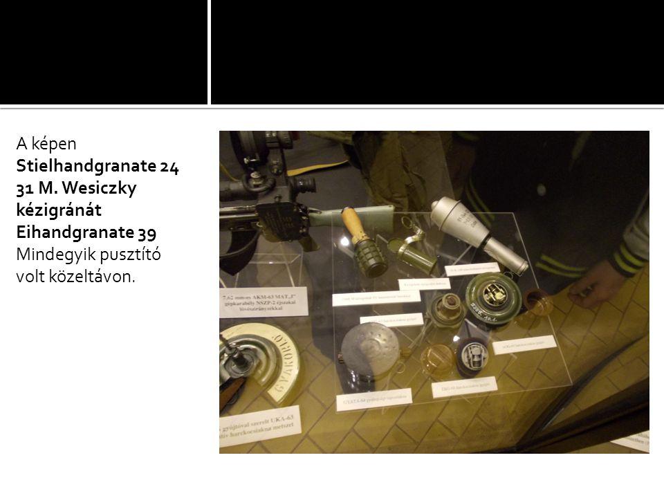 A képen Stielhandgranate 24. 31 M. Wesiczky kézigránát.