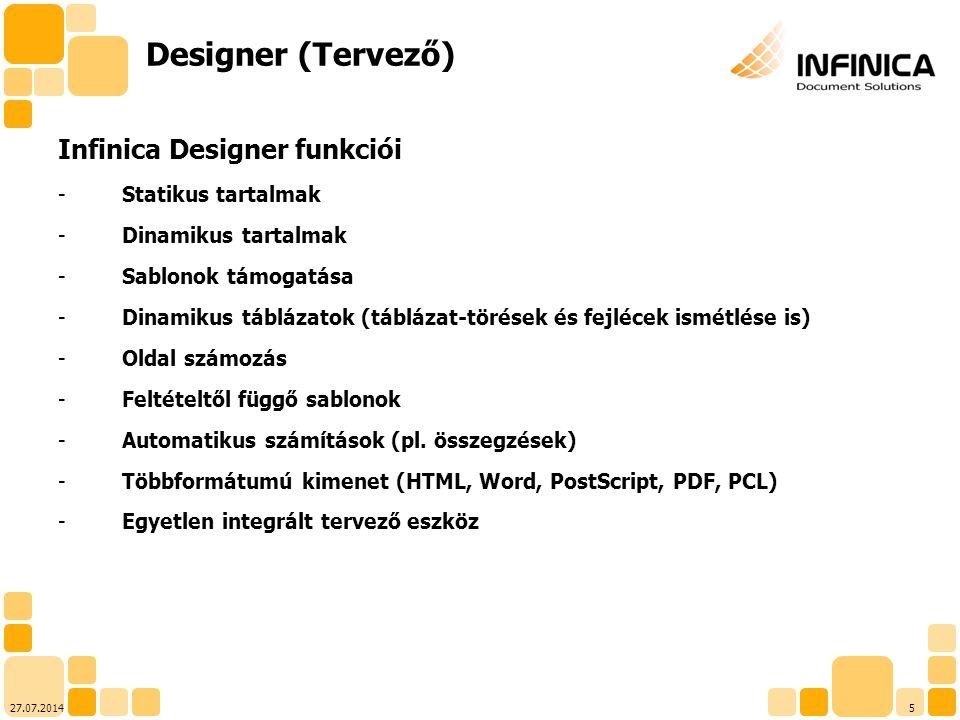 Designer (Tervező) Infinica Designer funkciói Statikus tartalmak
