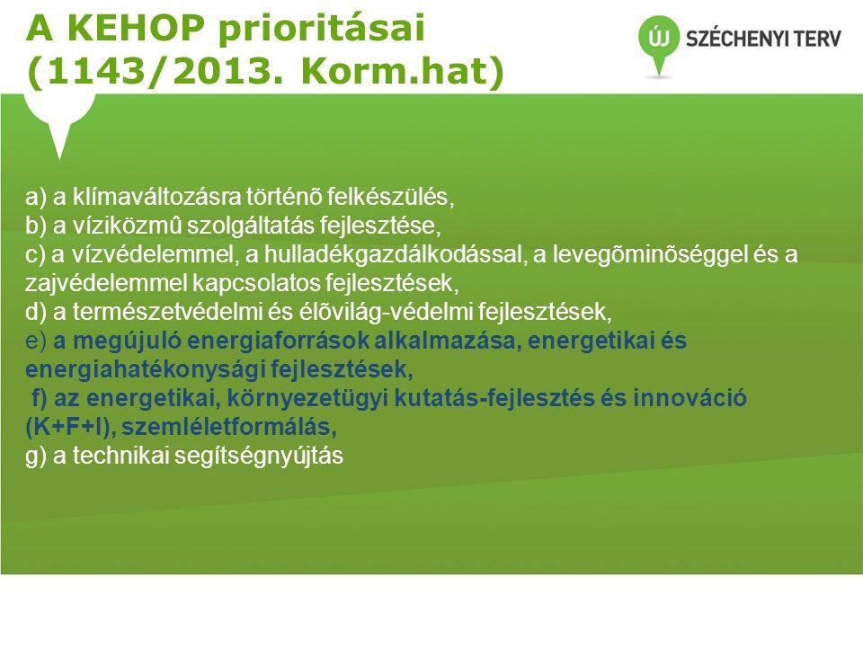 A KEHOP prioritásai (1143/2013. Korm.hat)