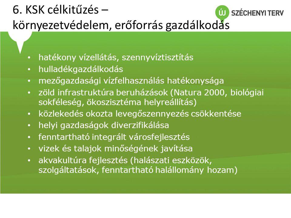 6. KSK célkitűzés – környezetvédelem, erőforrás gazdálkodás