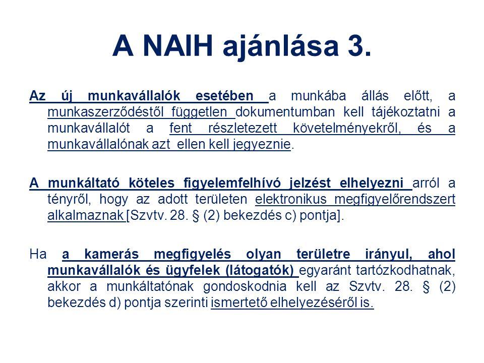 A NAIH ajánlása 3.