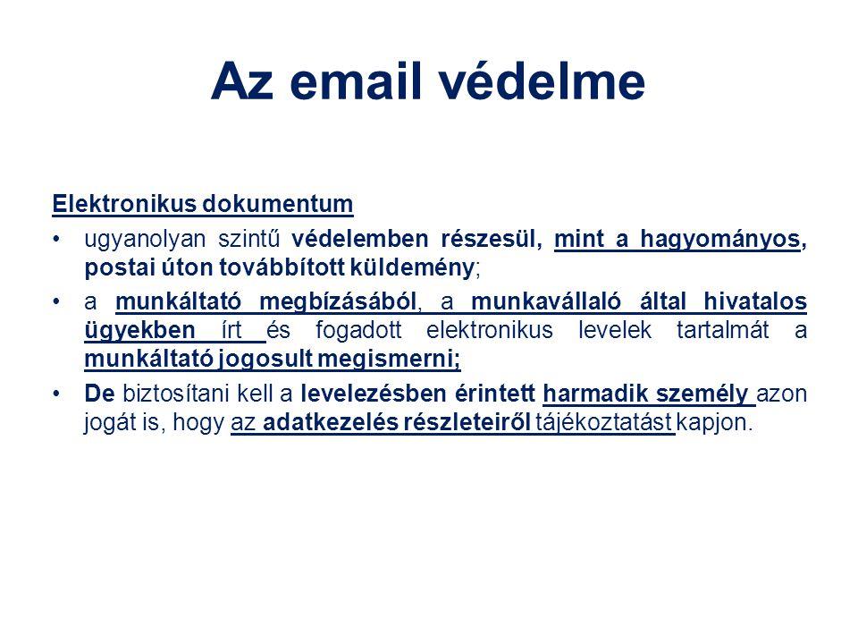 Az email védelme Elektronikus dokumentum