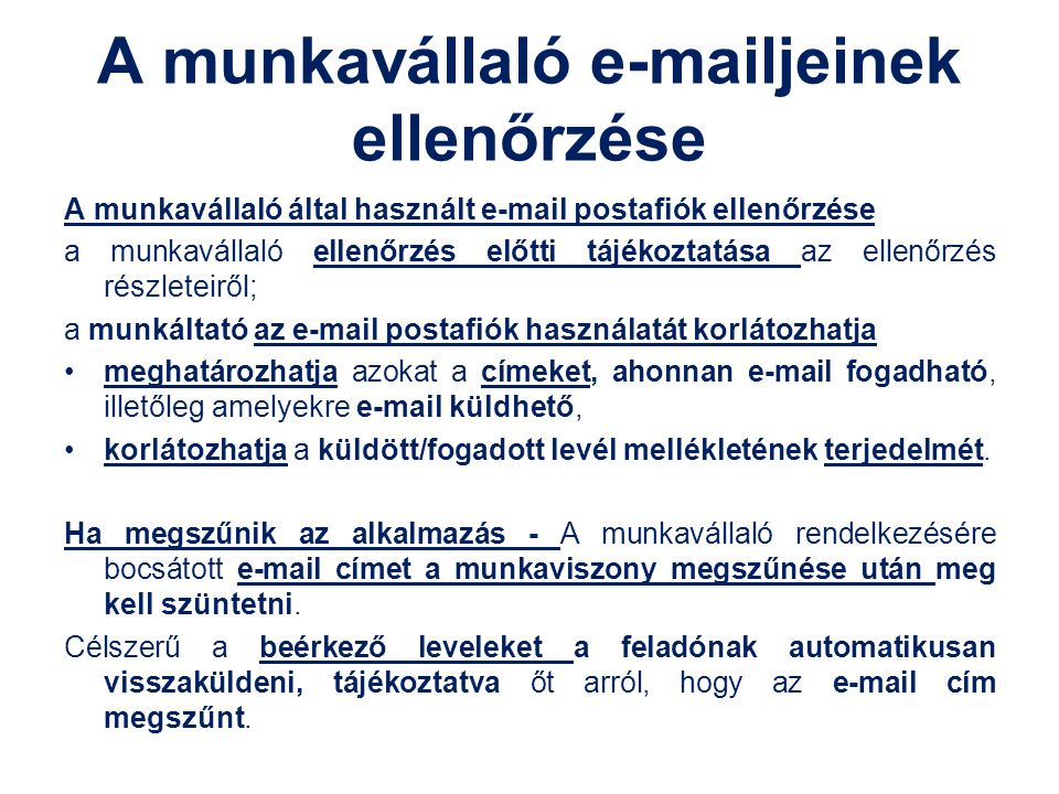 A munkavállaló e-mailjeinek ellenőrzése