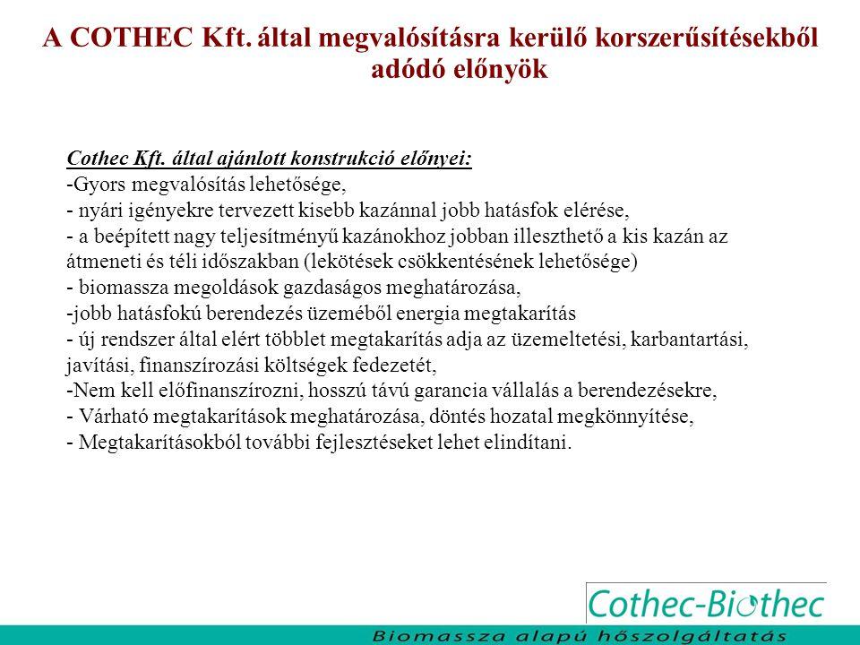 A COTHEC Kft. által megvalósításra kerülő korszerűsítésekből adódó előnyök