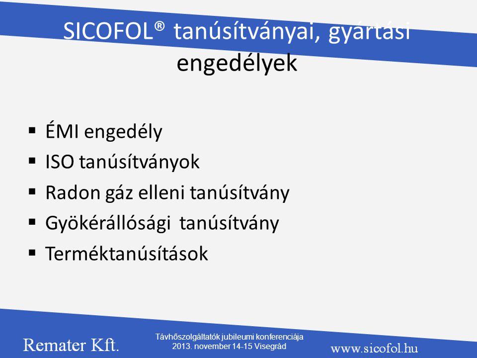 SICOFOL® tanúsítványai, gyártási engedélyek