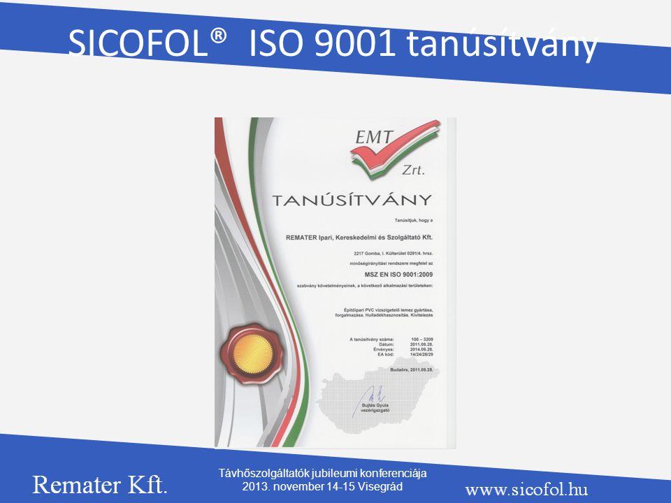 SICOFOL® ISO 9001 tanúsítvány