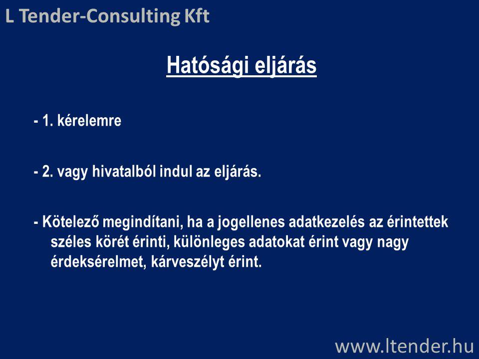 Hatósági eljárás L Tender-Consulting Kft www.ltender.hu - 1. kérelemre