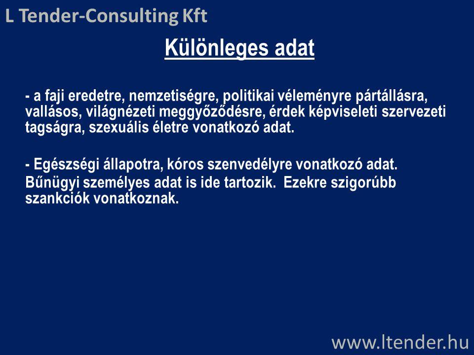 Különleges adat L Tender-Consulting Kft www.ltender.hu