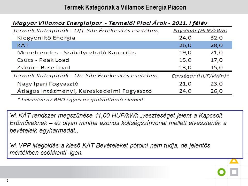 Termék Kategóriák a Villamos Energia Piacon