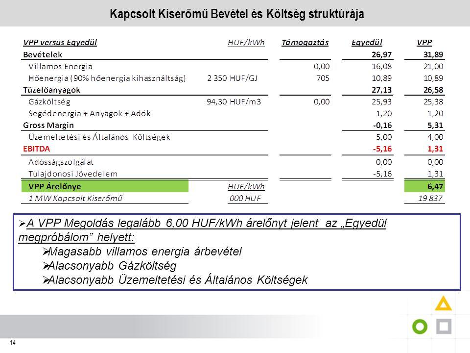 Kapcsolt Kiserőmű Bevétel és Költség struktúrája