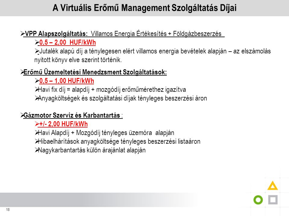 A Virtuális Erőmű Management Szolgáltatás Díjai