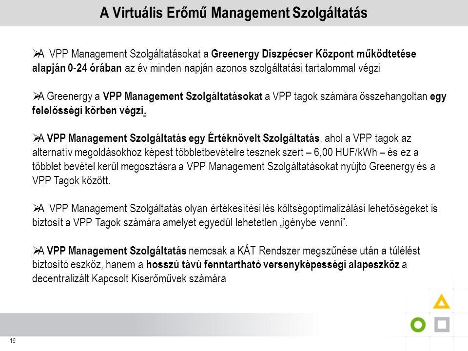 A Virtuális Erőmű Management Szolgáltatás