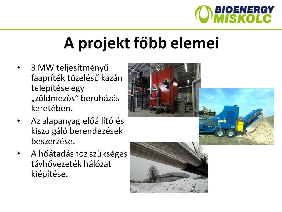 """A projekt főbb elemei 3 MW teljesítményű faapríték tüzelésű kazán telepítése egy """"zöldmezős beruházás keretében."""