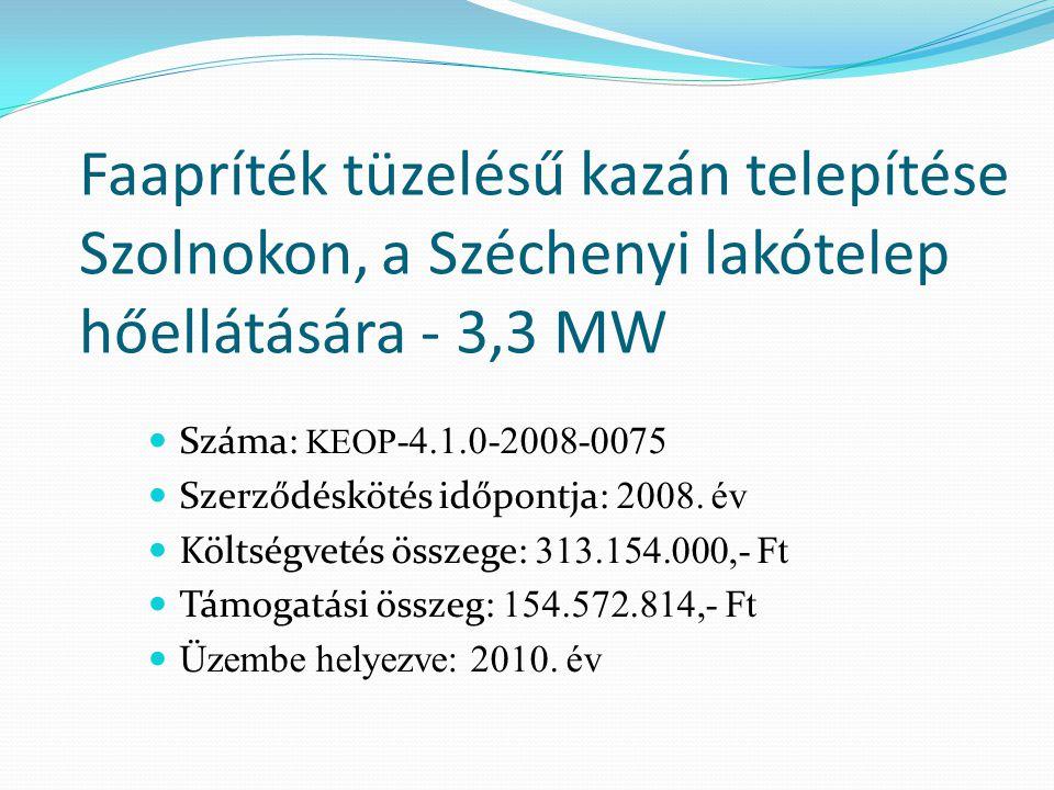 Faapríték tüzelésű kazán telepítése Szolnokon, a Széchenyi lakótelep hőellátására - 3,3 MW