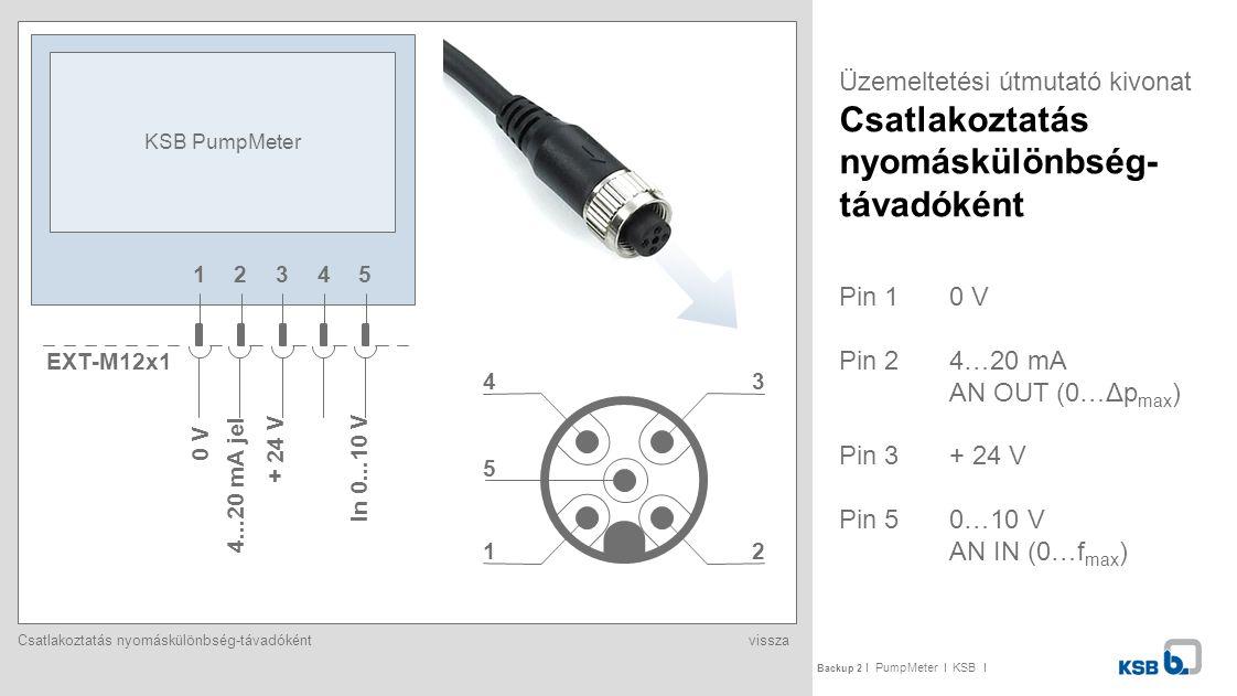 KSB PumpMeter Üzemeltetési útmutató kivonat Csatlakoztatás nyomáskülönbség-távadóként. 1. 2. 3.