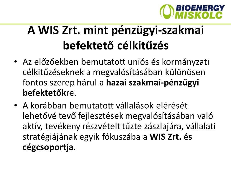 A WIS Zrt. mint pénzügyi-szakmai befektető célkitűzés