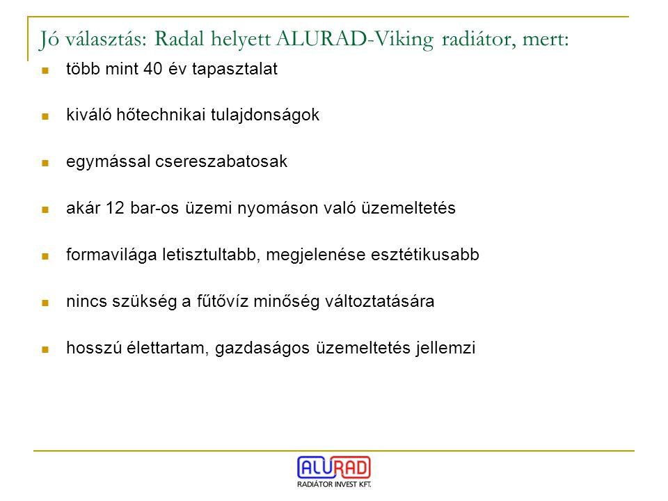 Jó választás: Radal helyett ALURAD-Viking radiátor, mert: