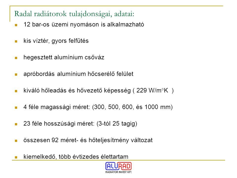 Radal radiátorok tulajdonságai, adatai: