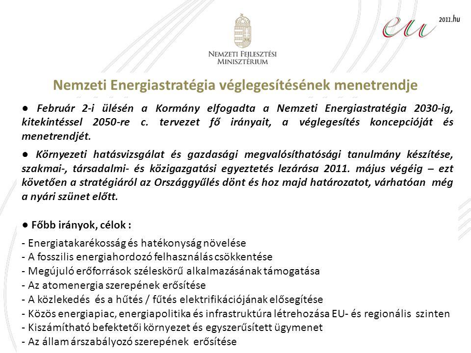 Nemzeti Energiastratégia véglegesítésének menetrendje