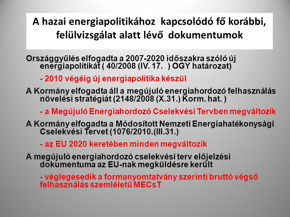 A hazai energiapolitikához kapcsolódó fő korábbi, felülvizsgálat alatt lévő dokumentumok