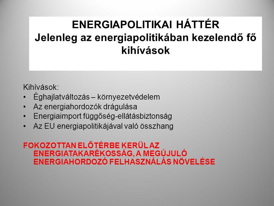 ENERGIAPOLITIKAI HÁTTÉR Jelenleg az energiapolitikában kezelendő fő kihívások