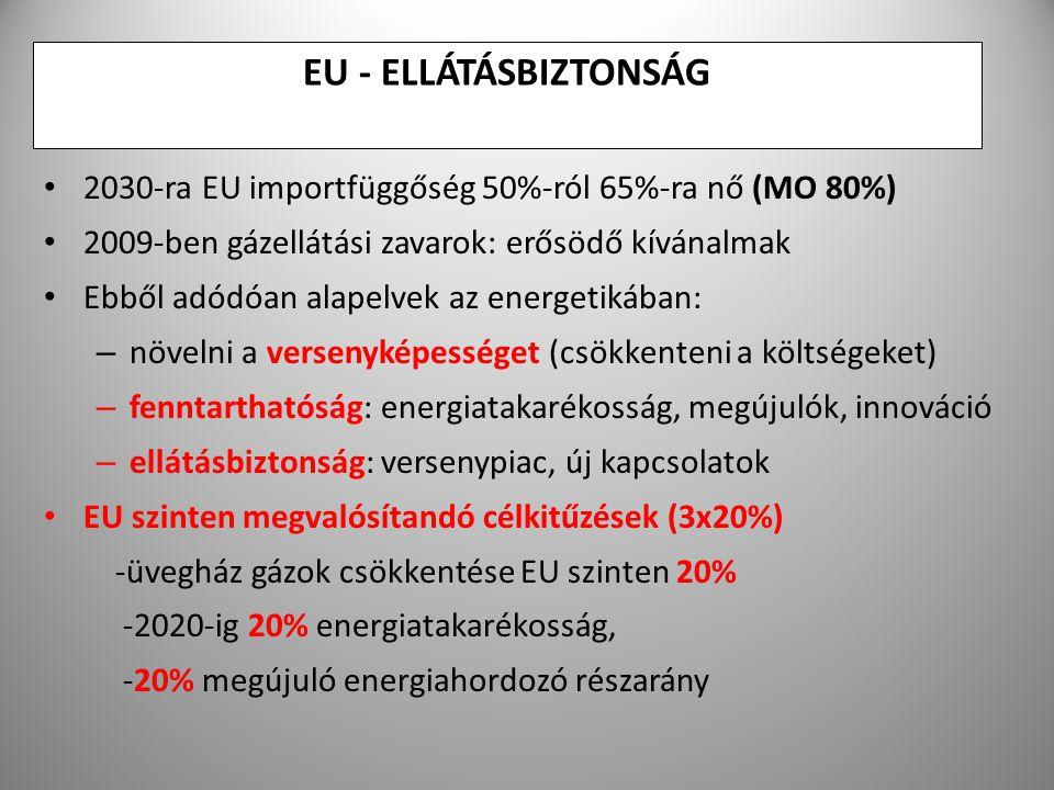 EU - ELLÁTÁSBIZTONSÁG 2030-ra EU importfüggőség 50%-ról 65%-ra nő (MO 80%) 2009-ben gázellátási zavarok: erősödő kívánalmak.