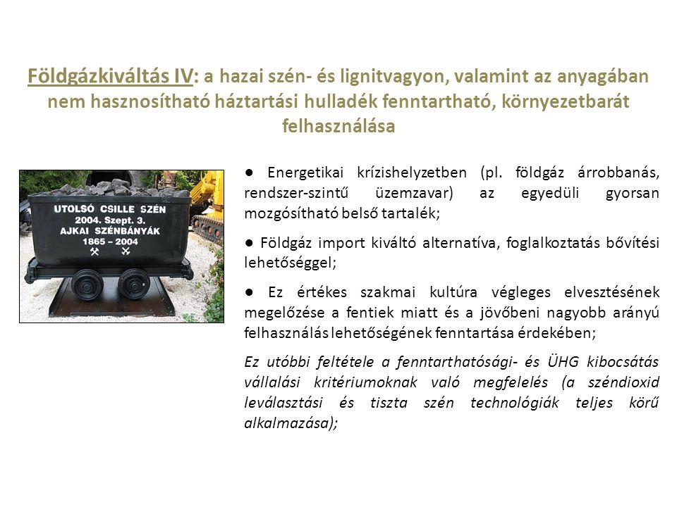 Földgázkiváltás IV: a hazai szén- és lignitvagyon, valamint az anyagában nem hasznosítható háztartási hulladék fenntartható, környezetbarát felhasználása