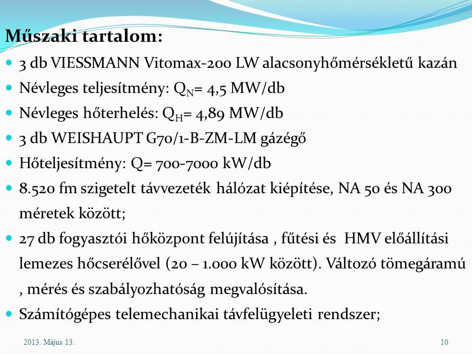 Műszaki tartalom: 3 db VIESSMANN Vitomax-200 LW alacsonyhőmérsékletű kazán. Névleges teljesítmény: QN= 4,5 MW/db.
