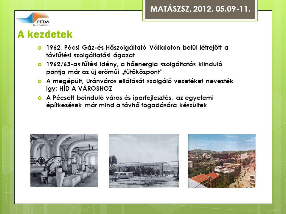 MATÁSZSZ, 2012. 05.09-11. A kezdetek. 1962, Pécsi Gáz-és Hőszolgáltató Vállalaton belül létrejött a távfűtési szolgáltatási ágazat.