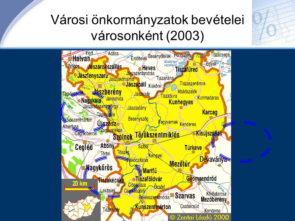 Városi önkormányzatok bevételei városonként (2003)