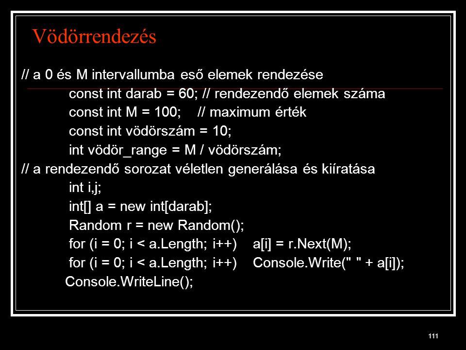 Vödörrendezés // a 0 és M intervallumba eső elemek rendezése