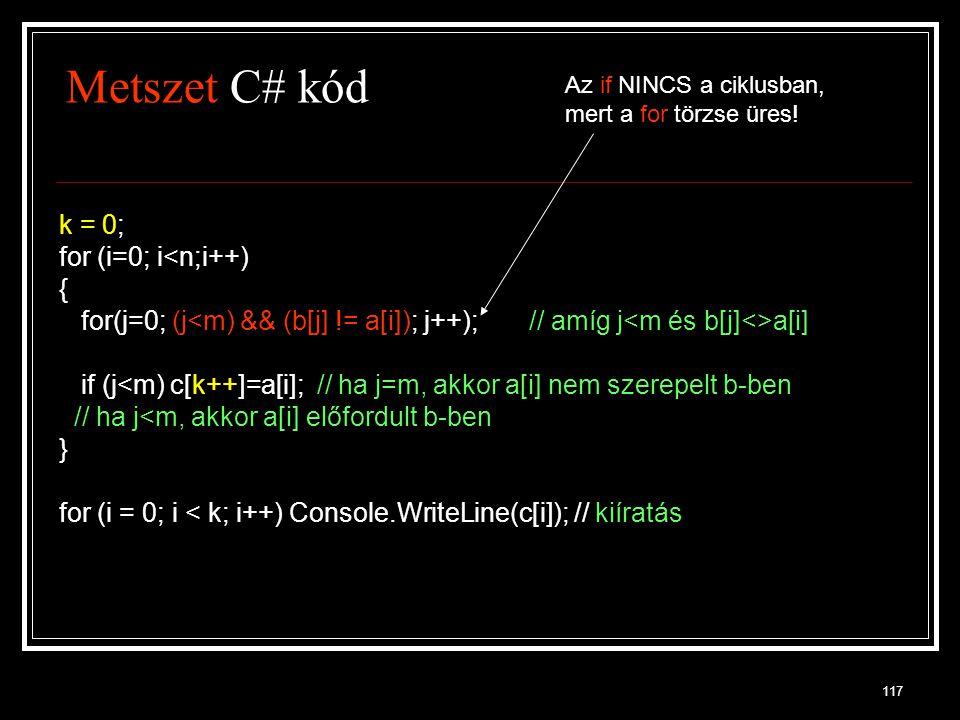 Metszet C# kód k = 0; for (i=0; i<n;i++) {