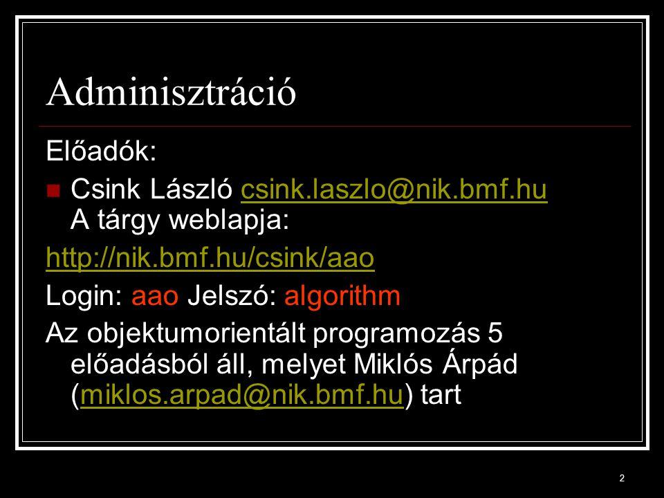 Adminisztráció Előadók: