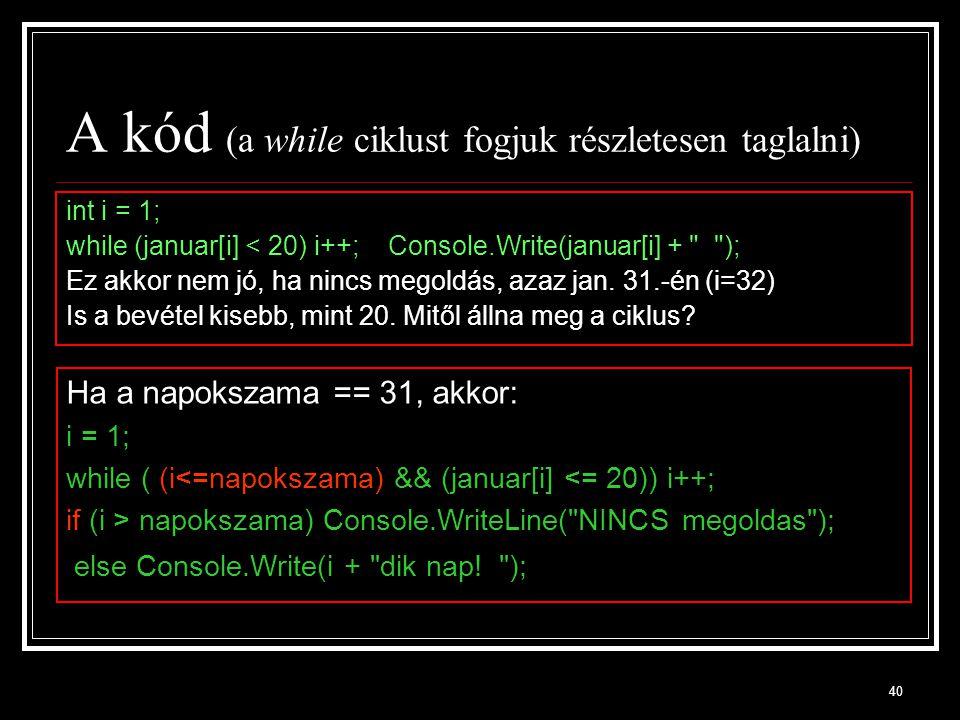A kód (a while ciklust fogjuk részletesen taglalni)
