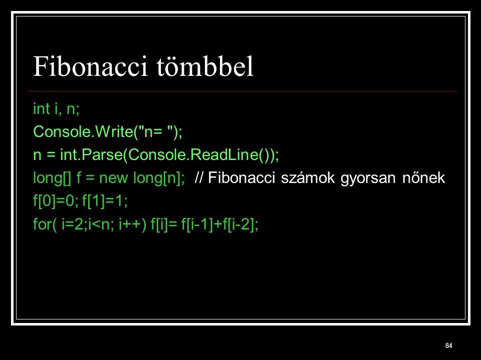 Fibonacci tömbbel int i, n; Console.Write( n= );